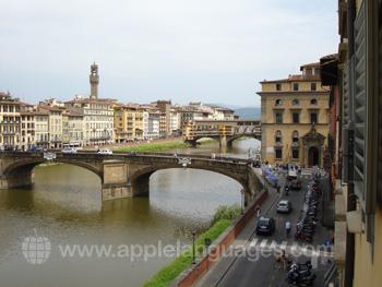 La vue de l'Arno depuis l'une de nos salles de classe