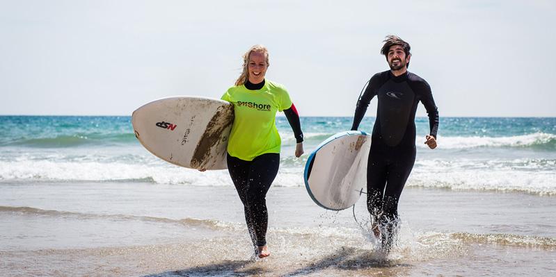 Cours de surf et d'espagnol