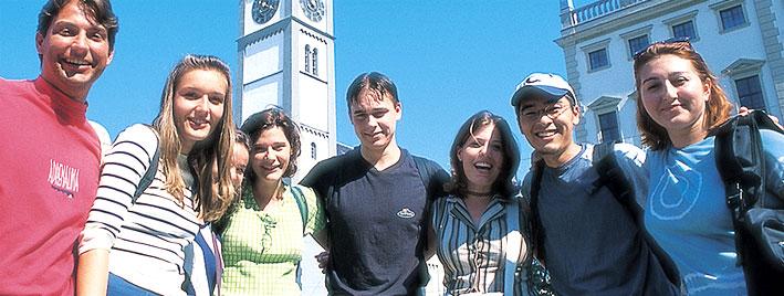 Étudiants en séjour dans le centre-ville d'Augsbourg