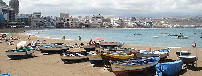 Bateaux sur la plage de Las Palmas, à Grande Canarie