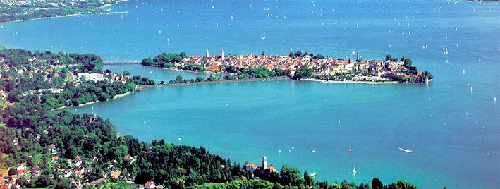 Vue aérienne de l'île de Lindau