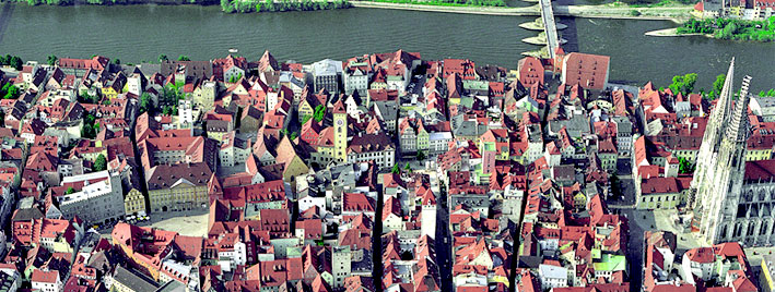 Vue aérienne de Ratisbonne, en Allemagne