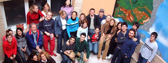 Groupe d'étudiants en séjour à l'école de langues de Salamanque