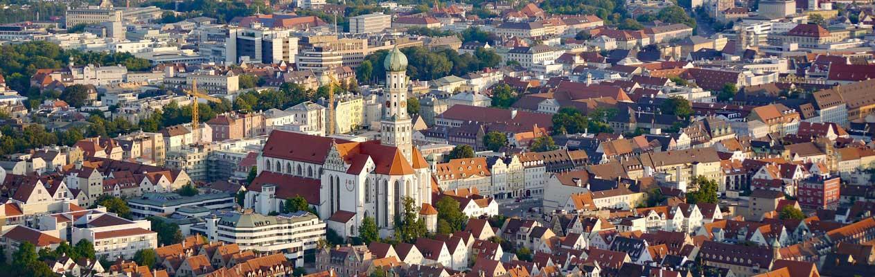 Vue aérienne de la ville d'Augsbourg en Allemagne