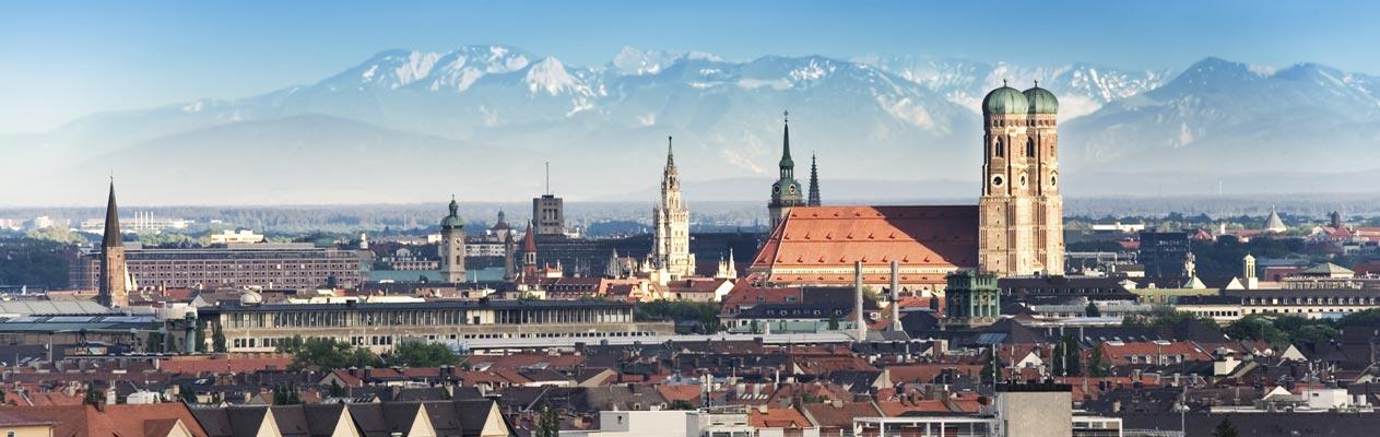 Vue de Munich et des Alpes allemandes