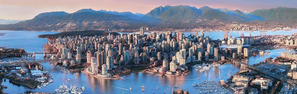 Soleil couchant sur la ville de Vancouver, Canada